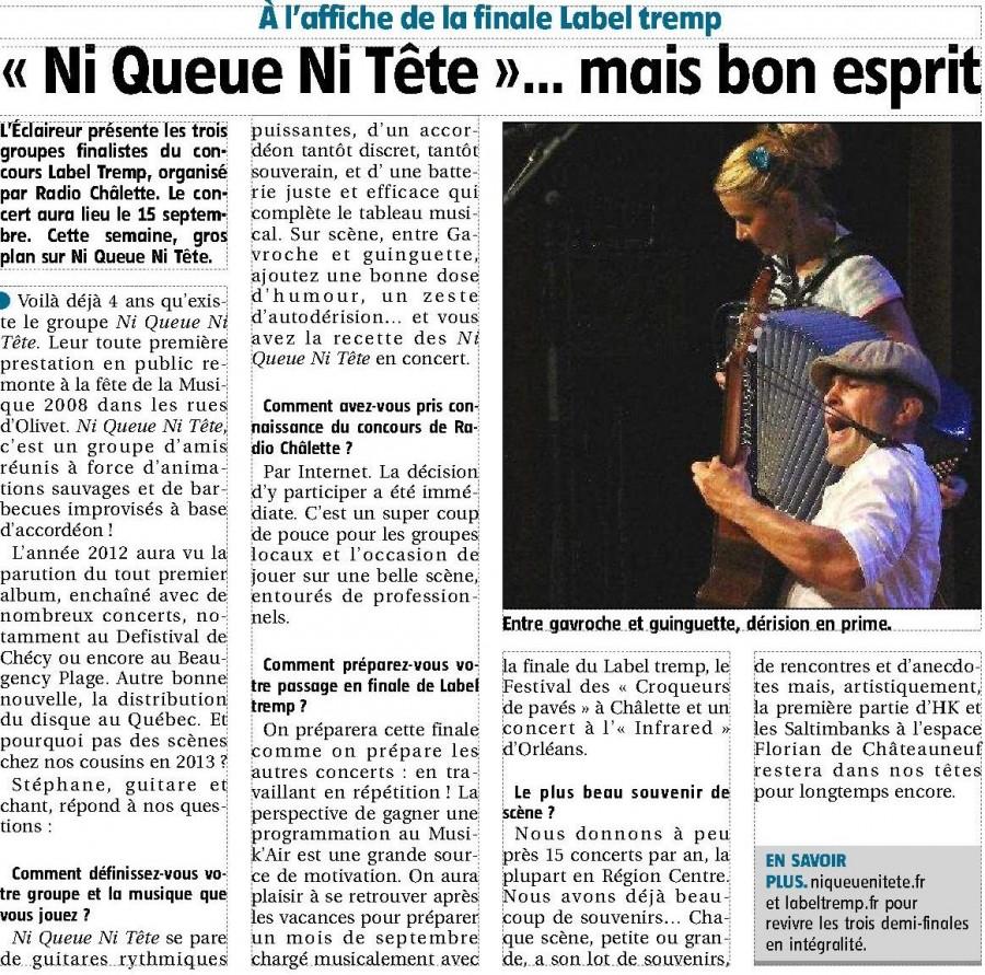 Article de L'Eclaireur du 2 août 2012